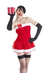 Frau in einem Weihnachts-Kostüm
