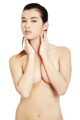 Sensual portrait nude woman with hands under chin