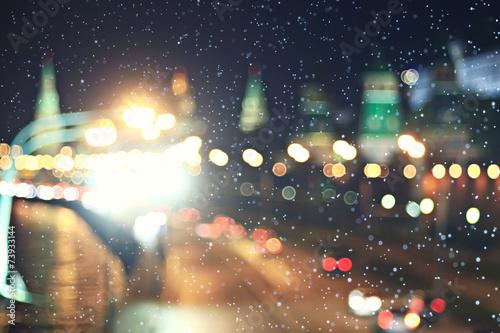 background city lights snow winter christmas - 73933144