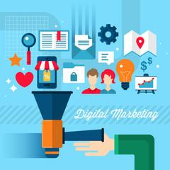 Digital marketing concept in flat modern design