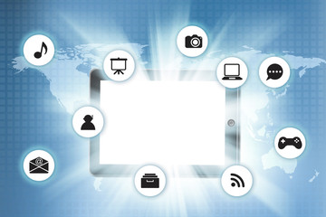 Tablet pc with icon on technology background