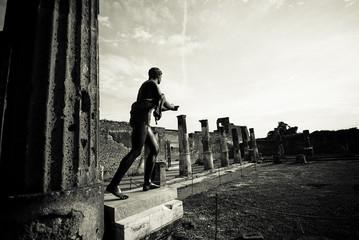 Old photo of Apollo Temple ruins, Pompeii