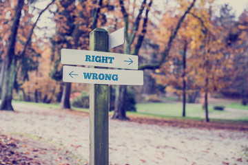 Opposite directions towards right and wrong