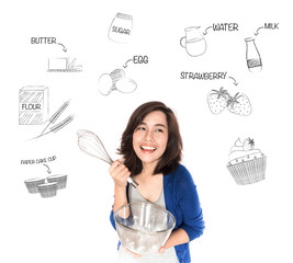 Happy woman with whisk and glass bowl thinking of cup cake recip