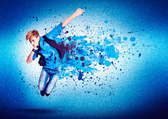 dancer in blue jumping - guy 16