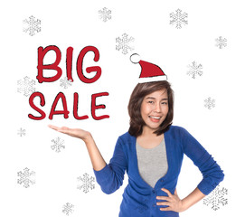Woman showing open hand palm with red big sale text.
