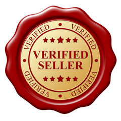 Red wax seal with text Verified subject on white background