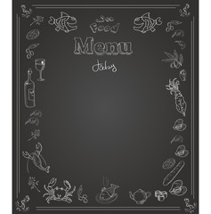 Hand drawn seafood  Menu design on blackboard