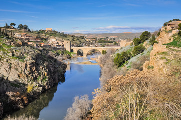 Tagus river and Bridge of San Martin, Toledo (Spain)