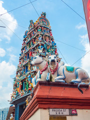 Hindu temple with cow statues at Pagoda street Singapore.
