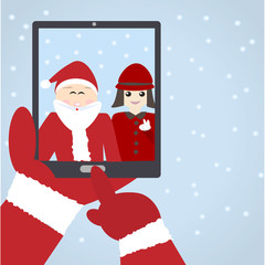 Santa Claus selfie with kid