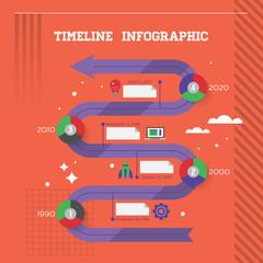 Flat modern design template for timeline infographics
