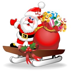 Santa Cartoon and Gifts on Christmas Sleigh