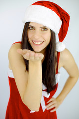 Female santa with hand for gift
