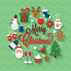 Christmas greeting card design with flat icons and long shadow