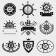 Ship steering wheel label and element set. Vector