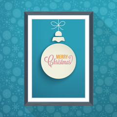 Christmas poster design with paper cut ball