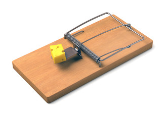 Mousetrap Over White. Clipping path included.