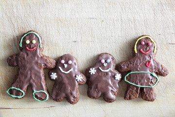 Gingerbread family. Handmade in home, decorated by children.