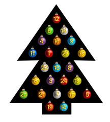 Adventkalender aus Weihnachtskugeln