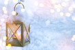 canvas print picture - art Christmas lantern with snowfall