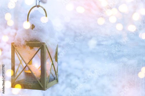 canvas print picture art Christmas lantern with snowfall