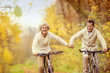 Leinwandbild Motiv Active seniors riding bike