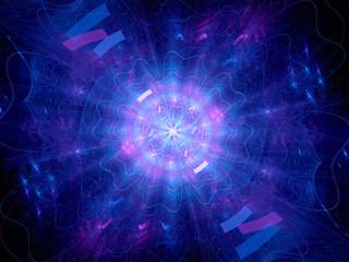 Blue glowing Higgs boson