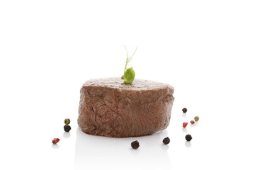 Beefsteak isolated on white background.