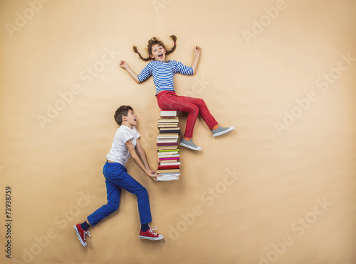 Children with books Poster