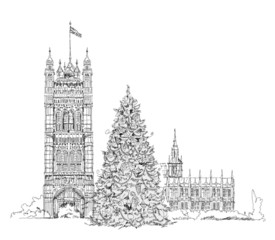 Christmas tree in London in front of Parliament tower, sketch
