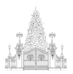 Christmas tree in front of Buckingham palace gate London, sketch
