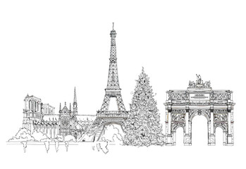 Christmas tree in Paris, sketch collection