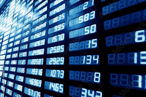 stock or currency exchange market displau screen board - 73939778