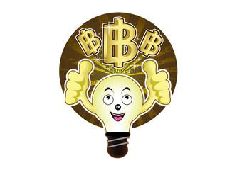 A cartoon light bulb with a bright idea for baht