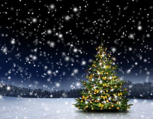 Christbaum mit Schneeflocken im Winterwald