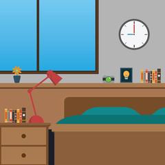 Vector of closed up bedroom.clock,flower,book