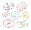International business travel visa stamps set
