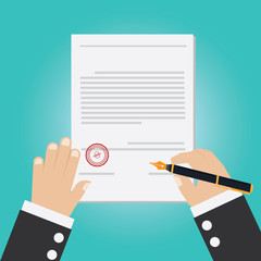 Vector of hand signing contract
