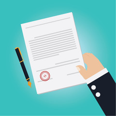Vector of Hand making agreement for signing contract