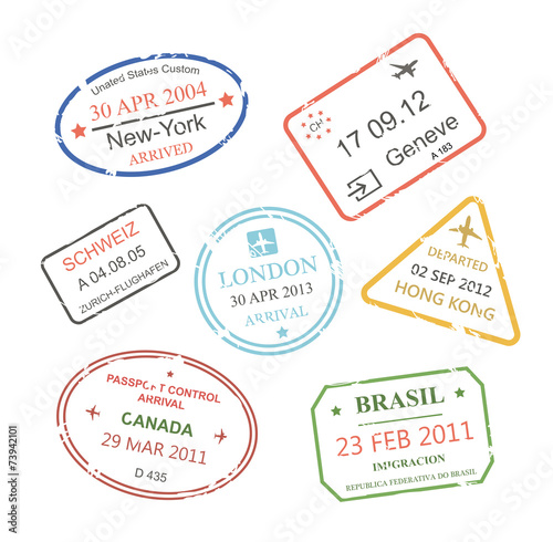 International business travel visa stamps set - 73942101