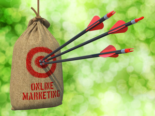 Marketing Online  on a Hanging Sack.
