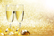 canvas print picture - Champagne and bow