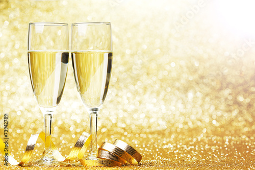 canvas print picture Champagne and bow
