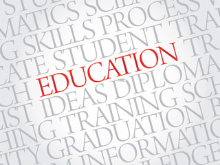 Education vector business concept words in tag cloud
