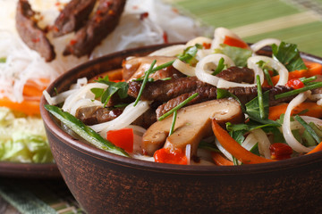 rice noodles with shiitake and vegetables in a bowl