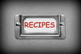 Drawer Label for Recipes in black and white with red text