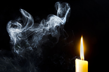 Candle, flame, smoke.