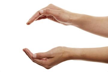 Hände halten leeren Raum 2