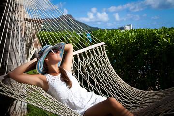 Tropical luxury. Hammock relaxation